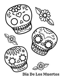 Free Day Of The Dead Sugar Skull Coloring Page