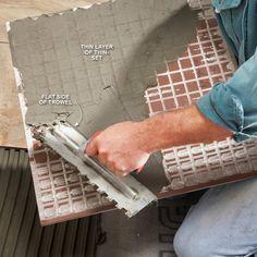 Modern Tile Installation Tips: Back-Butter Large Tile http://www.familyhandyman.com/tiling/tile-installation/modern-tile-installation-tips