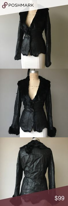 "VTG Authentic Black Leather & Rabbit Fur Jacket THIS SHERI BODELL JACKET IS LOVELY, 100% RABBIT FUR LINED, INTERIOR AND COLLAR & CUFFS. MSRP $359. Unfortunately die to time the leather has been worn outa bit but it still looks fabulous   Measurements are taken laying flat and are approximate. [Armpit To Armpit 19""•Waist 16.5""•Sleeve Length 20""•Length 23""] Vintage Jackets & Coats Blazers"