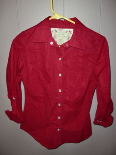 Arizona Jean Co Red Western Cowgirl L s Pearl Snaps Women's Shirt Top Small   eBay