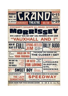 Morrissey 'Vauxhall And I' Playbill Poster Print Music Hall Vaudeville Theatre Literary Print on Etsy, $25.64