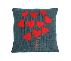 A Bouquet of Hearts/Blue Pillow with Red Hearts  by GIASTUDIOTR, $40.00