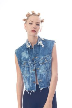 Denim Vest Bleached and Distressed Size by TheBlackSwanTheory, $32.00