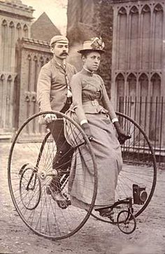 Early bicycle for two. Somehow they don't look they are having much fun...