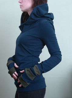 hooded top with thumb holes Navy/Olive by joclothing on Etsy, $70.00