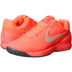 Nike Zoom Cage 2 Women's Tennis Shoes, Orange ($96) ❤ liked on Polyvore featuring shoes, athletic shoes, orange, tenny shoes, nike, lightweight tennis shoes, lace up shoes and nike footwear