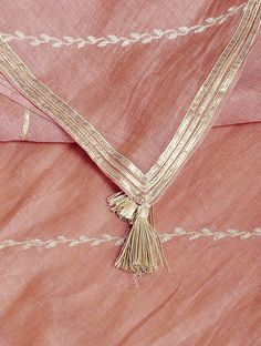 Buy Pink Aari-embroidered Cotton Chanderi Dupatta with Gota Work Online Bead Embroidery Patterns, Hand Work Embroidery, Embroidery Stitches, Kurta Patterns, Baby Dress Patterns, Stylish Dresses For Girls, Stylish Dress Designs, Kurta Designs Women, Blouse Designs