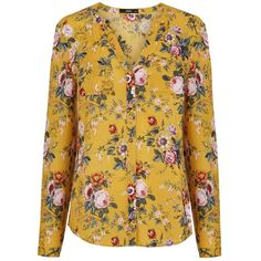Oasis Fifi Floral Blouse, Ochre ($57) ❤ liked on Polyvore featuring tops, blouses, floral long sleeve blouse, v-neck tops, pattern blouse, long sleeve blouse and rayon tops