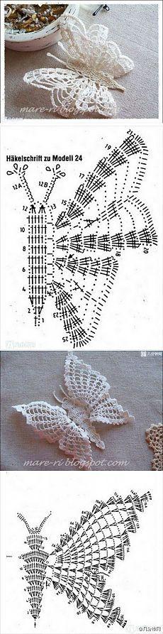 Красивые бабочки крючком - схемы | Подружки