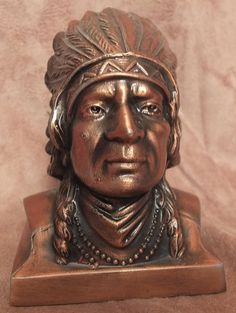 Native American Indian Head Bust Metal Coin by MoonbearConnections