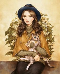 Girl and brown cat. Aeppol.