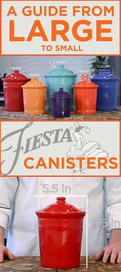 When choosing a Fiesta® Canister, there is a rainbow selection of color options on a wide array of sizes and styles. We've taken a good look at the kitchen storage canisters & created an easy guide to help you find just the size and capacity you need for everyday items – we've even thrown in some creative, out-of-the-box ideas as well! #Fiesta #FiestaInsiders #HomeOrganization #Storage