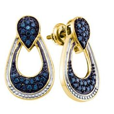 An outstanding collection of Diamond Jewelry at great prices from Dazzling Rock. 14k Earrings, Diamond Dangle Earrings, Gold Plated Earrings, Blue Earrings, Fashion Earrings, Blue Diamond Jewelry, 14 Karat Gold, Nice Jewelry, Gold Jewelry