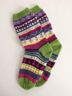 Hand Knit Socks of Merino Wool in a fair isle pattern. boho style in random stranded knit pattern. Knitting Socks, Hand Knitting, Knit Socks, Etsy Handmade, Handcrafted Gifts, Handmade Items, Merino Wool Socks, Yarn Storage, Winter Socks