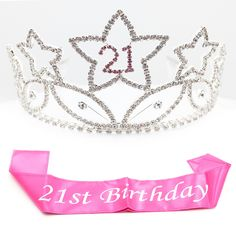 21 Tiara & Sash - Rhinestone Silver and Pink Tiara with Hot Pink 21st…