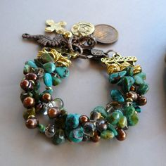 10 mm Natural Turquoise, Smokey Quartz, and Copper Pearl Bracelet with Gold Spacers and Copper Charms