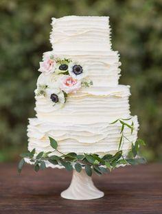 Delicate frosting ruffles. By Cake Walk Bake Shop.