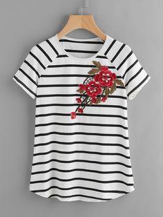 Chemise rayée à manches raglan et timbre brodé de fleurs-French SheIn(Sheinside)