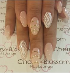 Beige almond point shapes nails with swavorski crystals on the thumbs, a matte middle finger and a champagne gold accent index finger. Description from pinterest.com. I searched for this on bing.com/images