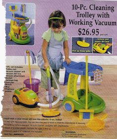 This ad is promoting cleaning toys for little girls. Since girls are at a young age they are already being introduced with cleaning items.