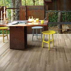 Totally ecological, the Cottage ceramic tile collection evokes the beauty and warmth of eight beautiful Mediterranean woods while offering the great durability and easy care of porcelain. Porcelain Wood Tile, Cottage, Outdoor Furniture Sets, Outdoor Decor, Trees To Plant, Plank, Hardwood, Flooring, Home Decor