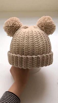 Crochet Crafts, Easy Crochet, Free Crochet, Knit Crochet, Booties Crochet, Bonnet Crochet, Crochet Beanie Pattern, Crochet Hat Tutorial, Beanie Pattern Free