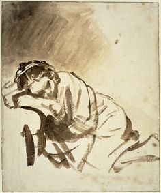 Young woman sleeping (Hendrickje Stoffels), her head resting on her r arm. c.1654 Brush drawing in brown wash, with some white bodycolour