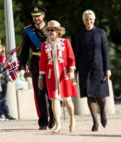 Estonian State Visit to Norway, September 2, 2014-Queen Sonja, Crown Prince Haakon, Crown Princess Mette-Marit