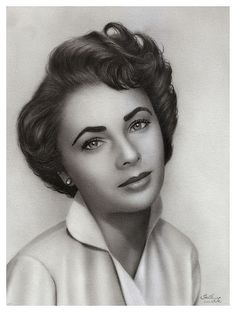 Charcoal drawing of Elizabeth Taylor