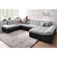 Canapé d angle design LUBERON en PU et tissu coloris noir et gris