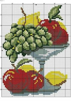 Kawaii Cross Stitch, Cross Stitch Fruit, Cross Stitch Kitchen, Cross Stitch Bookmarks, Cross Stitch Cards, Cross Stitch Flowers, Cross Stitch Kits, Cross Stitching, Cross Stitch Embroidery