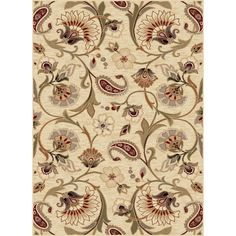 Provide a decorative accent and a soft surface underfoot with this beige floral rug. The neutral coloring and graceful design are sure to complement a wide range of decor, and the polypropylene construction is durable enough to last for years.