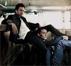 Sebastian Stan and Tom Hiddleston Did they just do an antihero photoshoot for Marvel or what?