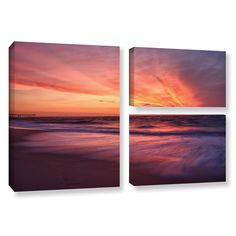 Outer Banks Sunset Ii by Dan Wilson 3 Piece Gallery-Wrapped Canvas Flag Set