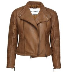 Light Brown Tan Quilted Collarless Lambskin Leather Jacket - Rogue | by VIPARO