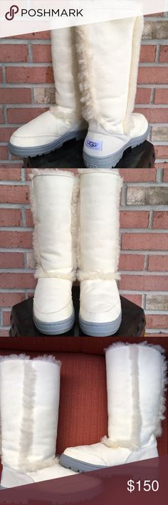 UNIQUE LIGHT CREAM  TALL UGG BOOTS Tall very light cream color Uggs, these are unique - the exterior has a line of shearling on the front, sides and back with extra cushioning of shearling on the interior. The bottom is thicker than regular Uggs for extra comfort, very light cream color🌸 Never worn outside, like new. UGG Shoes Winter & Rain Boots