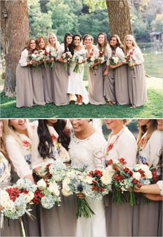 rustic bridesmaids dresses http://www.weddingchicks.com/2013/11/27/salt-lake-city-wedding/