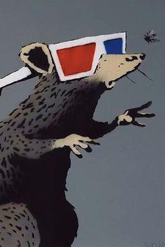 Banksy, Rat (with 3D glasses). Vroom & Varossieau