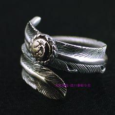 Таиланд импорт новых индейцев, аутентичные gv покровителя двойной цвет перья открытие серебро кольцо