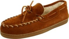 Minnetonka Men's Hardsole Pile Lined Slipper Minnetonka. $42.92. Soft, warm and inviting. Flexible rubber out sole. Rubber sole. suede. Free spirited slip on moccasins for men. Round toe style with lace tie. Lined inside with a suede outer