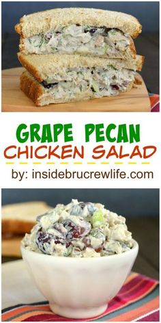 Dill and grapes add a fun and delicious flavor to this chicken salad recipe. Gre… Dill and grapes add a fun and delicious flavor to this chicken salad recipe. Great for bread or salads. Pecan Chicken Salads, Chicken Salad Recipes, Dill Chicken, Salad Chicken, Chicken Salad Recipe With Pecans And Grapes, Chicken Salad Sandwiches, Great Recipes, Favorite Recipes, Dinner Recipes