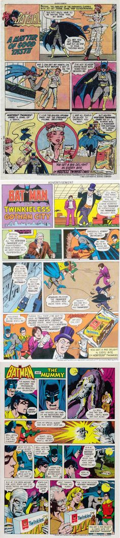 1970's Batman, Penguin, and Batgirl Advertisements for Hostess Twinkies
