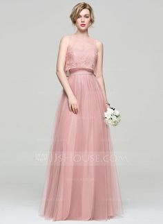 [€ 125.91] A-Line/Princess Sweetheart Floor-Length Tulle Bridesmaid Dress (007072823)