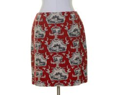 Talbots Red Beige Gray Antique Print Cotton Straight Skirt Size 10P #Talbots #Straight