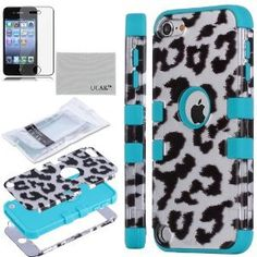 #Leopard Case Cover with Silicone Inner Shell for Apple #iPod Touch 5 5th + Screen Protector (#Blue & #Black Leopard Pattern)
