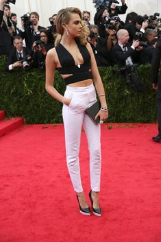 Black and White at the MET Gala: Cara Delevingne in Stella McCartney.
