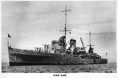 HMS Ajax, a Leander-class light cruiser of the British Royal Navy.