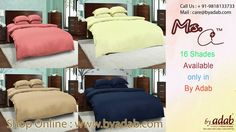 Buy Online bed sheet at : http://www.byadab.com/our-brands/bed-linen/mrs-select.html Enjoy the beauty of different color bed linen in your own room with this product. This beautiful bedding set will easily brighten up your dull decor with its modern design and bright color. Available 600 thread count sheet, duvet cover, pillow cover.