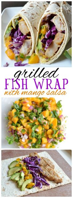 This grilled fish wrap sandwich is the perfect healthy AND delicious summer dinner. Made with wild alaskan pollock, fresh mango salsa, avocado, cabbage, and a spicy tangy mayo sauce. Click for recipe. #ad #swapyourburger