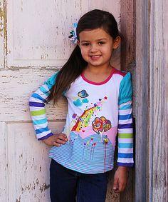 White Rainbow Puff-Sleeve Top - Infant, Toddler & Girls #zulily #zulilyfinds